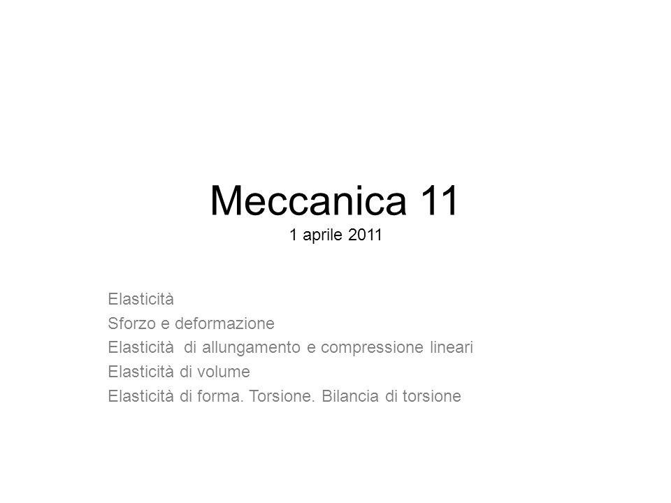 Meccanica 11 1 aprile 2011 Elasticità Sforzo e deformazione