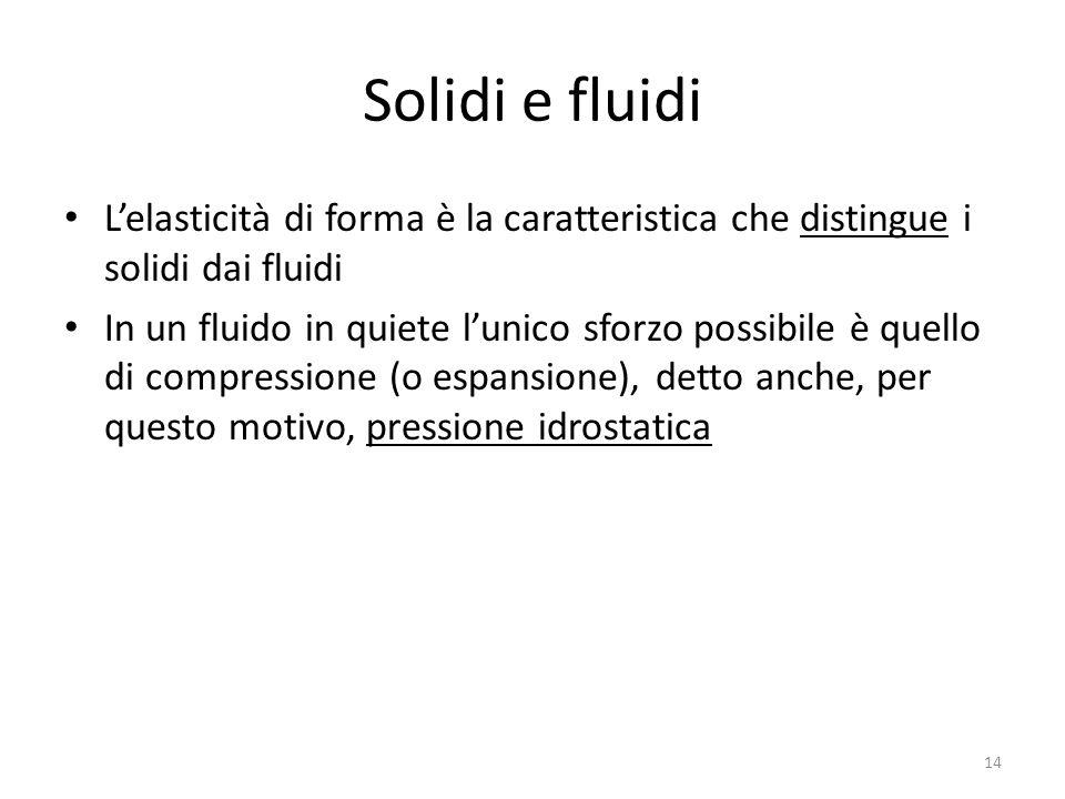 Solidi e fluidi L'elasticità di forma è la caratteristica che distingue i solidi dai fluidi.