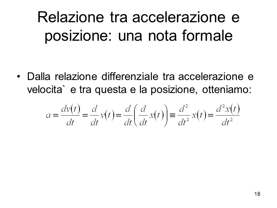 Relazione tra accelerazione e posizione: una nota formale