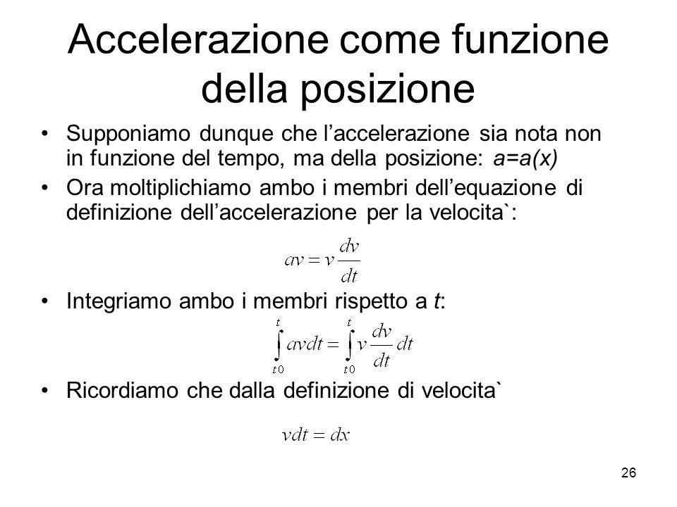 Accelerazione come funzione della posizione