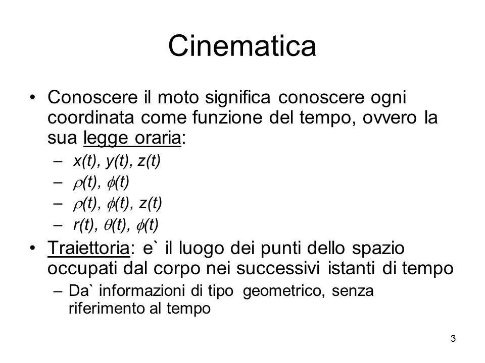 Cinematica Conoscere il moto significa conoscere ogni coordinata come funzione del tempo, ovvero la sua legge oraria: