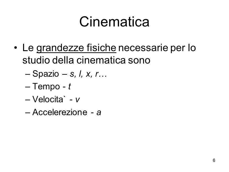 Cinematica Le grandezze fisiche necessarie per lo studio della cinematica sono. Spazio – s, l, x, r…
