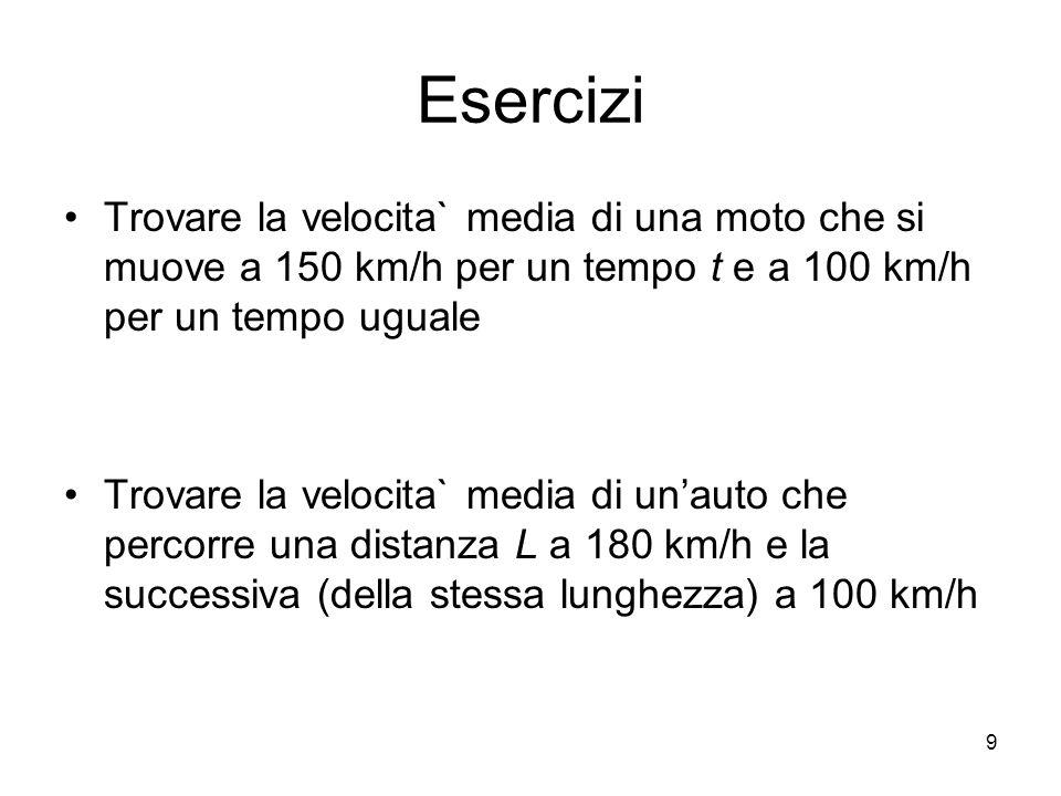 Esercizi Trovare la velocita` media di una moto che si muove a 150 km/h per un tempo t e a 100 km/h per un tempo uguale.