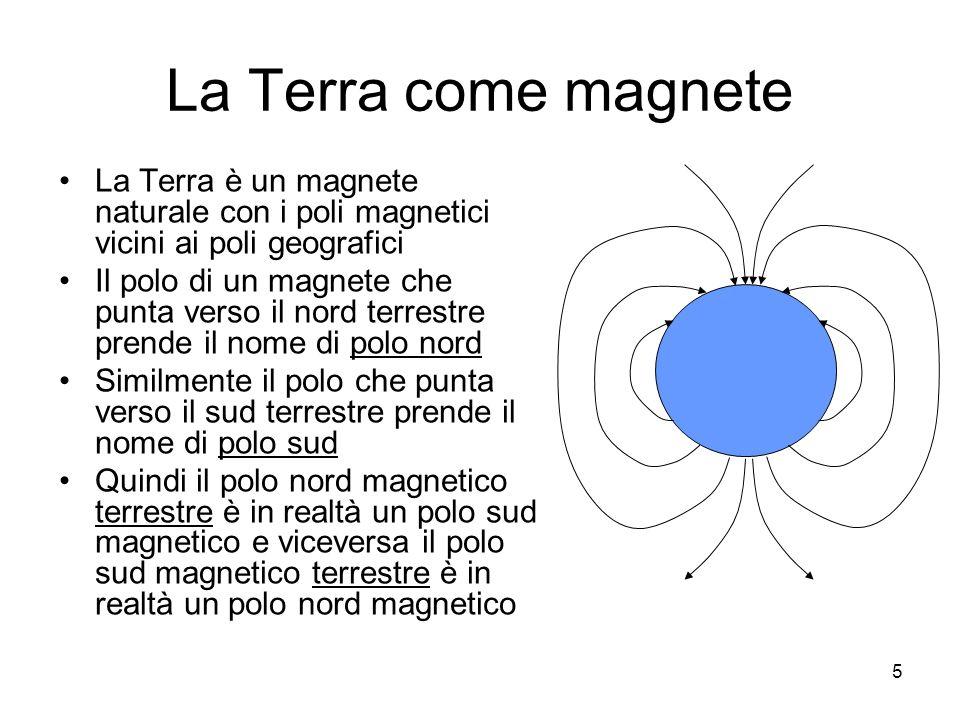 La Terra come magneteLa Terra è un magnete naturale con i poli magnetici vicini ai poli geografici.