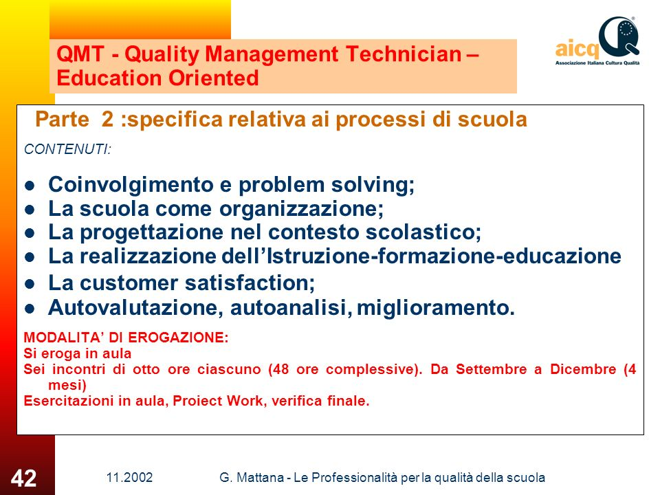 QMT - Quality Management Technician – Education Oriented