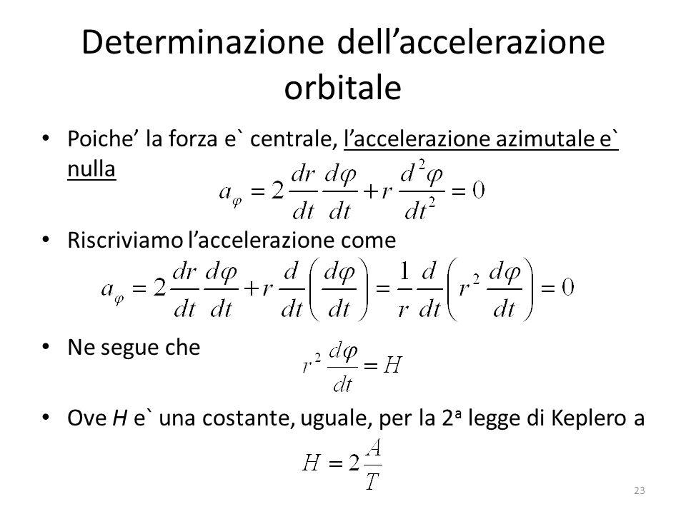 Determinazione dell'accelerazione orbitale