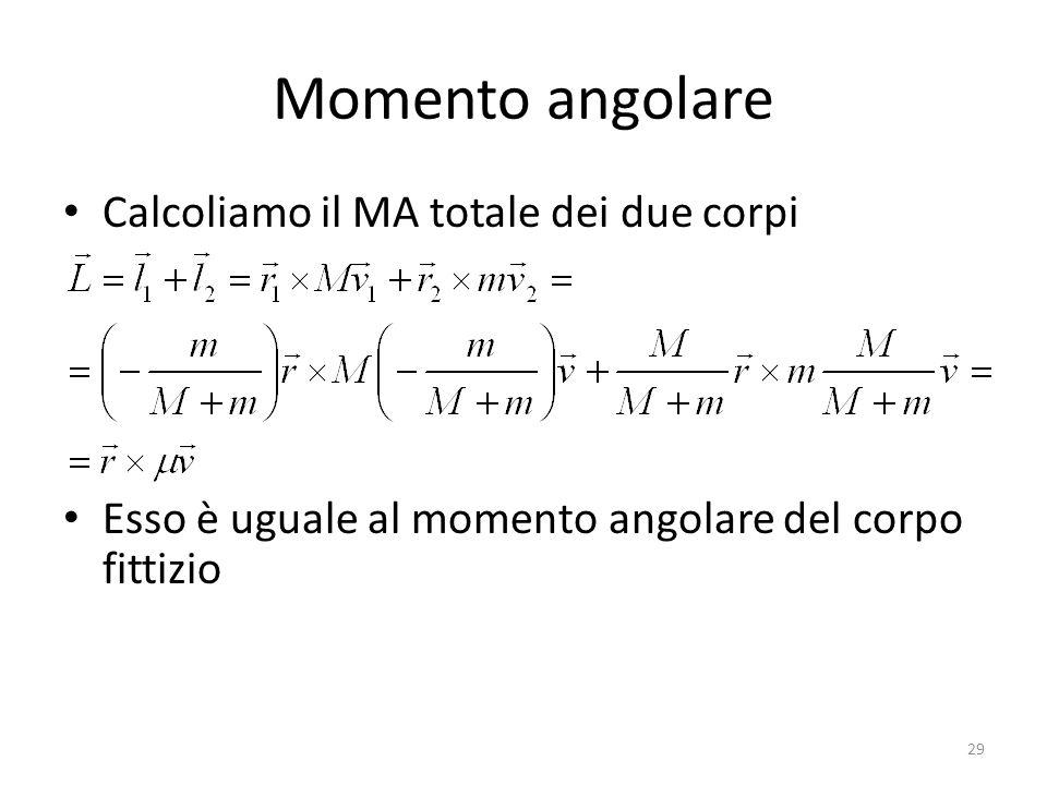 Momento angolare Calcoliamo il MA totale dei due corpi