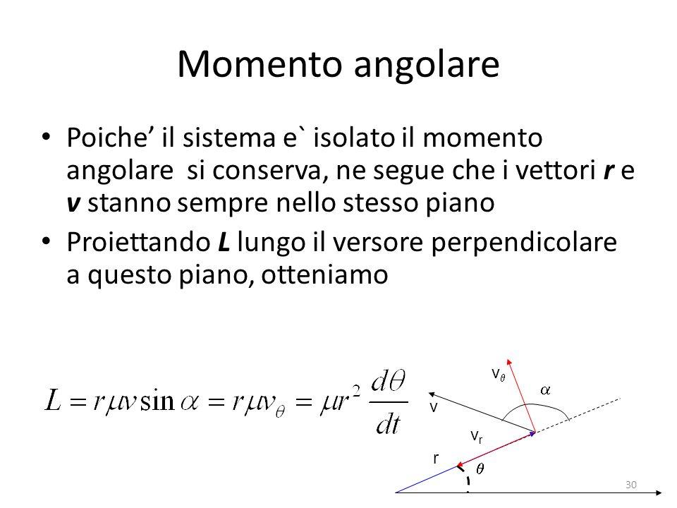Momento angolare Poiche' il sistema e` isolato il momento angolare si conserva, ne segue che i vettori r e v stanno sempre nello stesso piano.