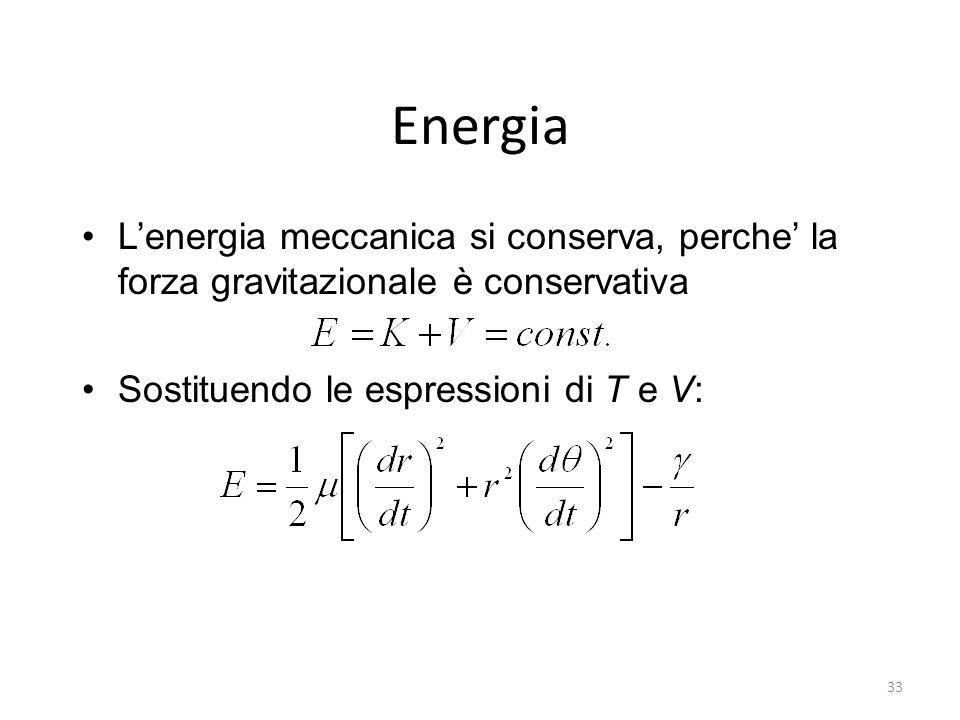 Energia L'energia meccanica si conserva, perche' la forza gravitazionale è conservativa.