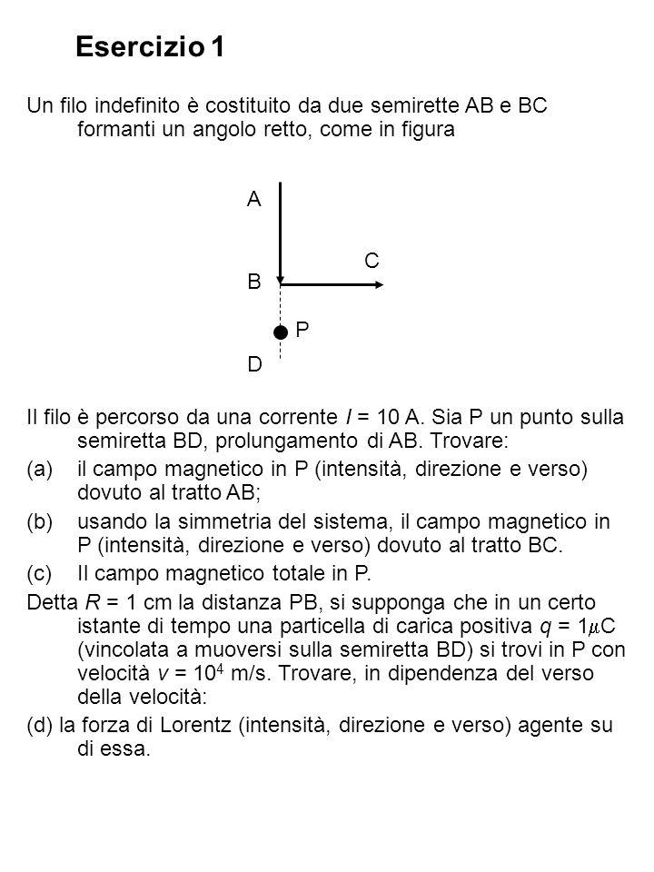 Esercizio 1 Un filo indefinito è costituito da due semirette AB e BC formanti un angolo retto, come in figura.