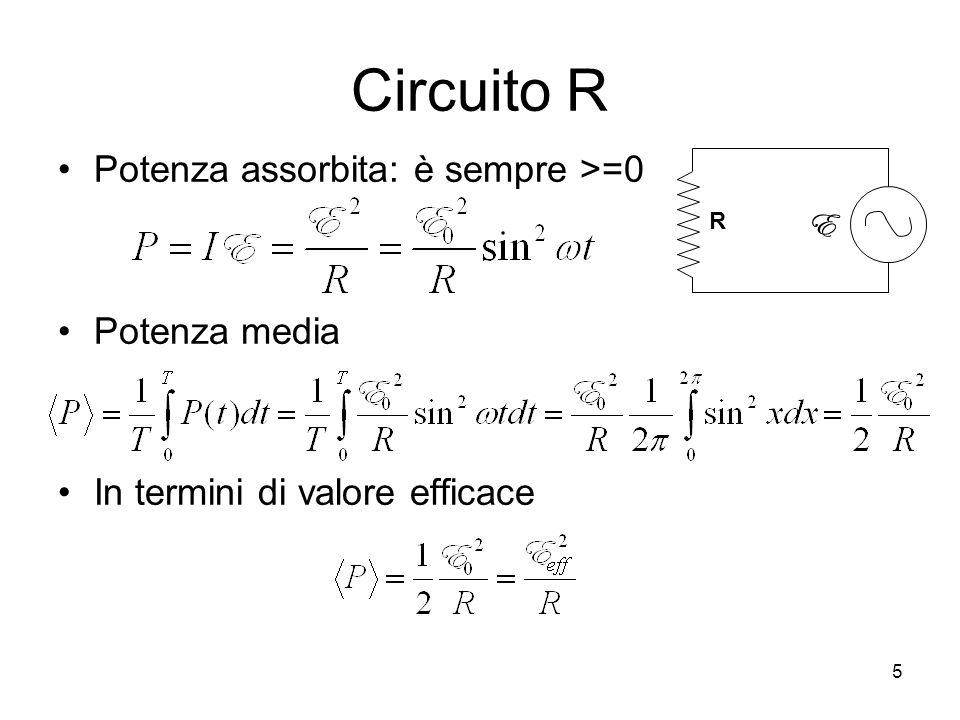 Circuito R Potenza assorbita: è sempre >=0 Potenza media