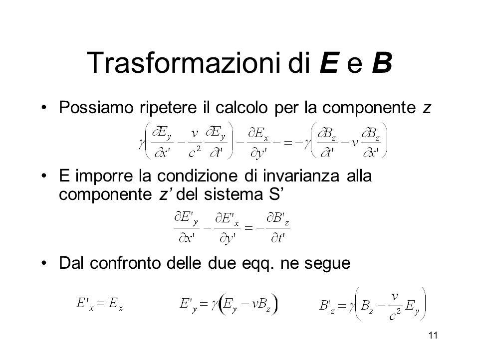 Trasformazioni di E e B Possiamo ripetere il calcolo per la componente z. E imporre la condizione di invarianza alla componente z' del sistema S'
