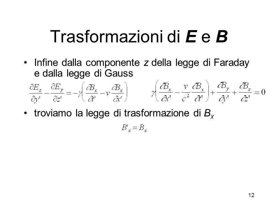 Trasformazioni di E e B Infine dalla componente z della legge di Faraday e dalla legge di Gauss.