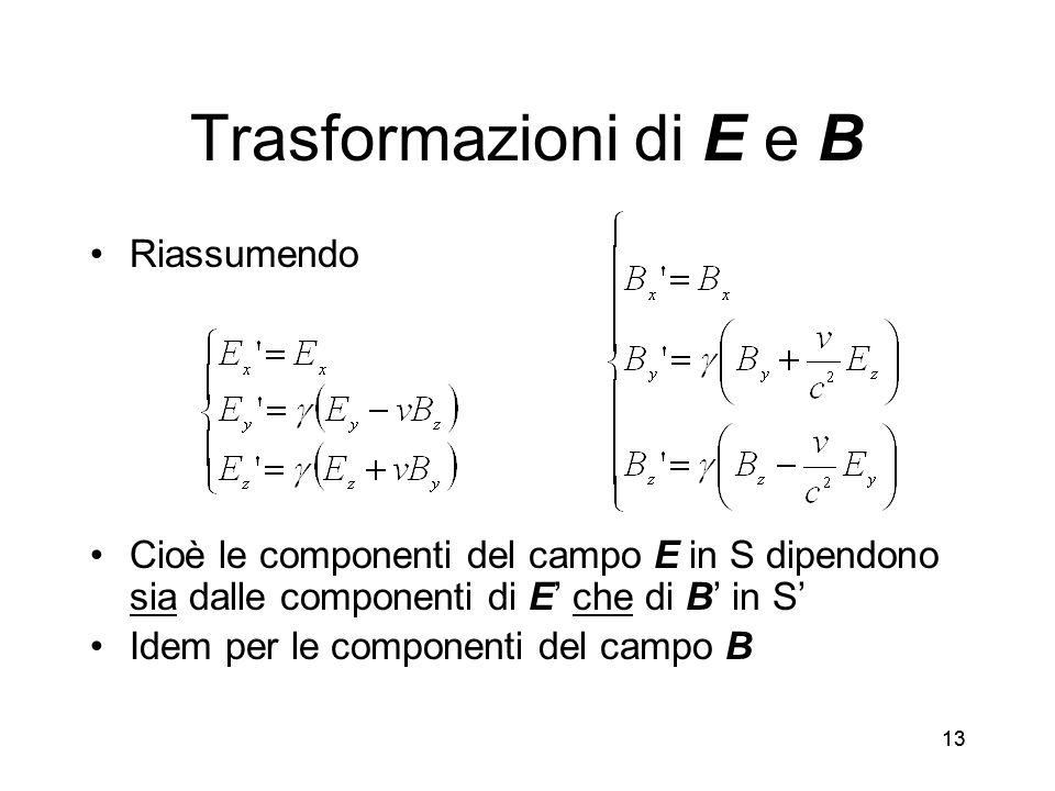Trasformazioni di E e B Riassumendo