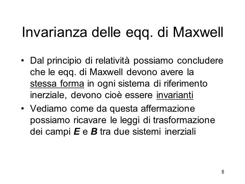 Invarianza delle eqq. di Maxwell