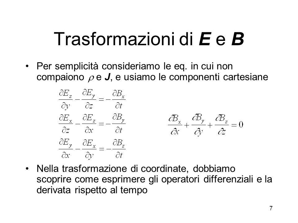 Trasformazioni di E e BPer semplicità consideriamo le eq. in cui non compaiono  e J, e usiamo le componenti cartesiane.
