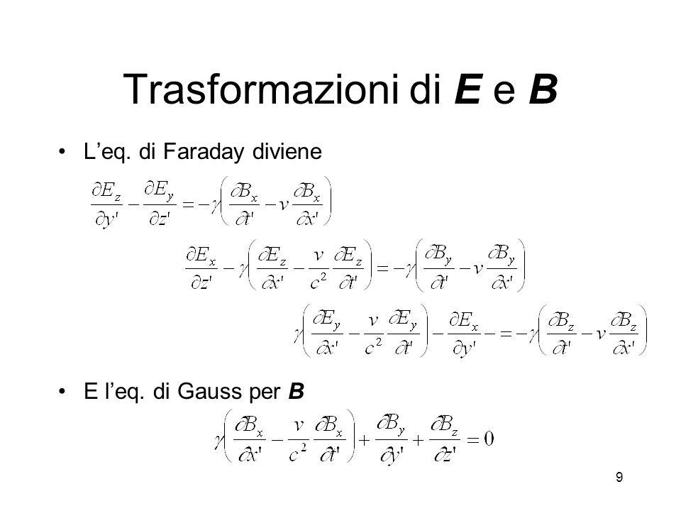 Trasformazioni di E e B L'eq. di Faraday diviene