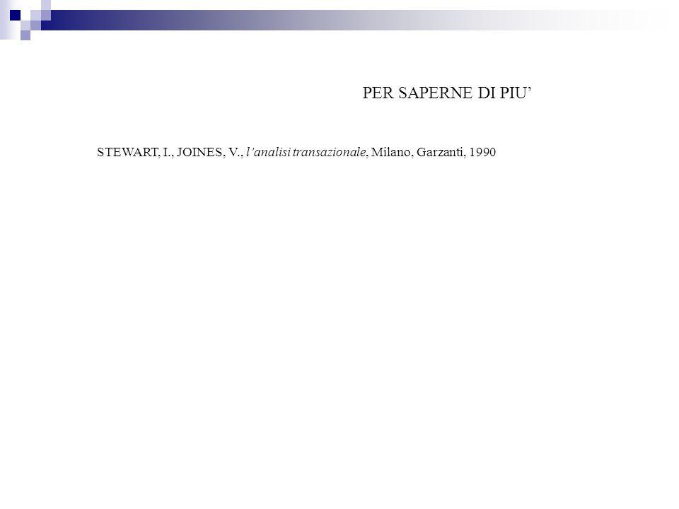 PER SAPERNE DI PIU' STEWART, I., JOINES, V., l'analisi transazionale, Milano, Garzanti, 1990 64