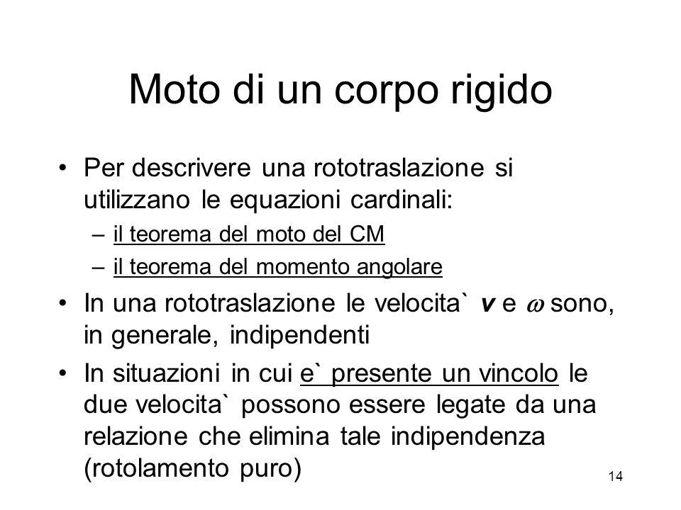 Moto di un corpo rigido Per descrivere una rototraslazione si utilizzano le equazioni cardinali: il teorema del moto del CM.