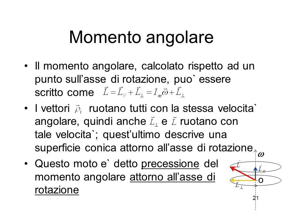 Momento angolare Il momento angolare, calcolato rispetto ad un punto sull'asse di rotazione, puo` essere scritto come.