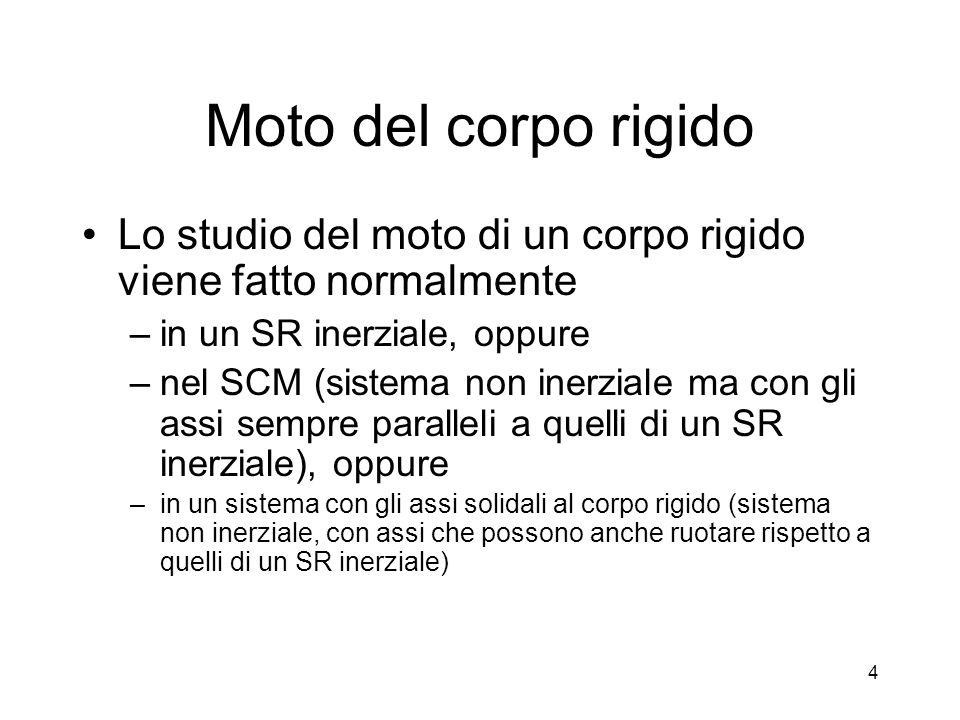 Moto del corpo rigido Lo studio del moto di un corpo rigido viene fatto normalmente. in un SR inerziale, oppure.