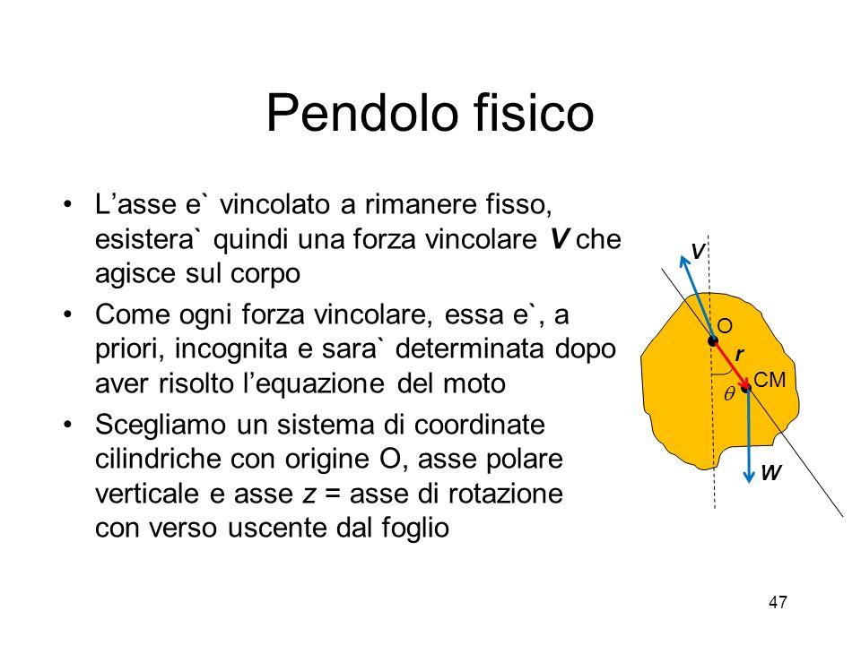 Pendolo fisicoL'asse e` vincolato a rimanere fisso, esistera` quindi una forza vincolare V che agisce sul corpo.