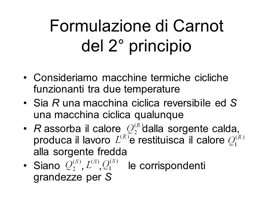 Formulazione di Carnot del 2° principio