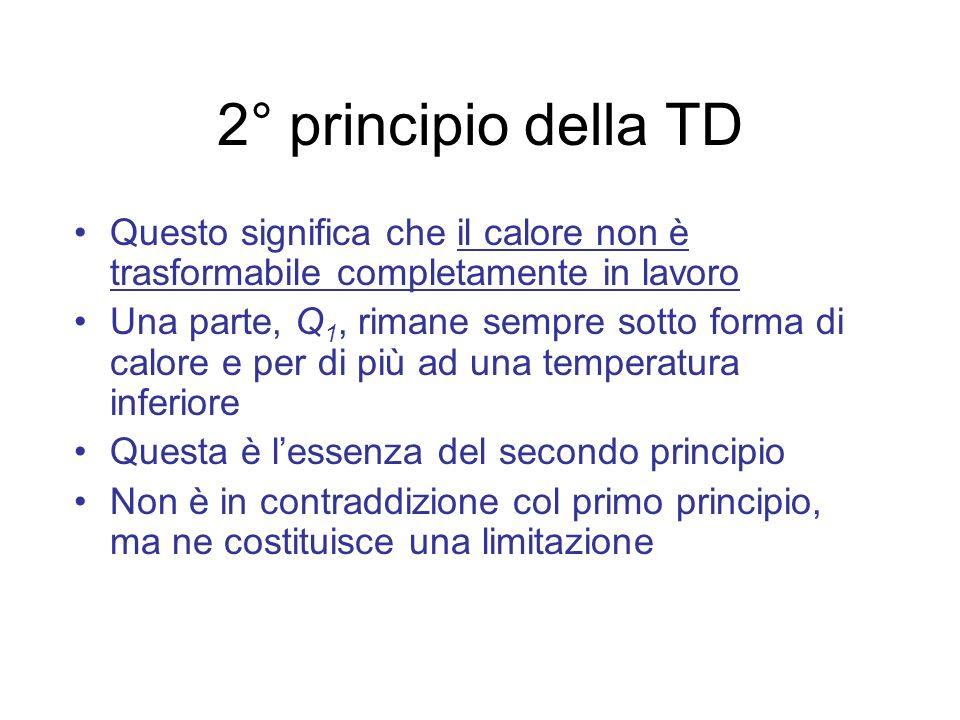 2° principio della TD Questo significa che il calore non è trasformabile completamente in lavoro.