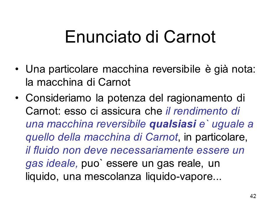 Enunciato di Carnot Una particolare macchina reversibile è già nota: la macchina di Carnot.