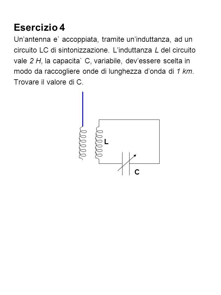 Esercizio 4 Un'antenna e` accoppiata, tramite un'induttanza, ad un