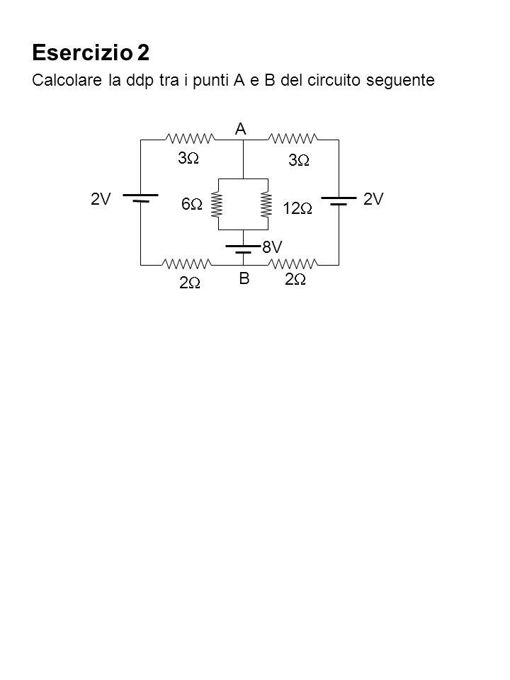 Esercizio 2 Calcolare la ddp tra i punti A e B del circuito seguente