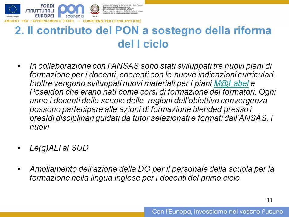 2. Il contributo del PON a sostegno della riforma del I ciclo