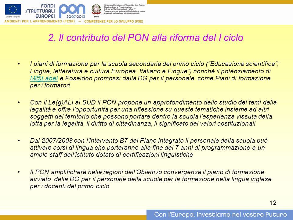 2. Il contributo del PON alla riforma del I ciclo