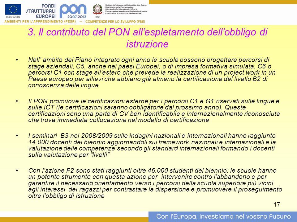3. Il contributo del PON all'espletamento dell'obbligo di istruzione