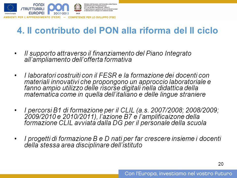 4. Il contributo del PON alla riforma del II ciclo