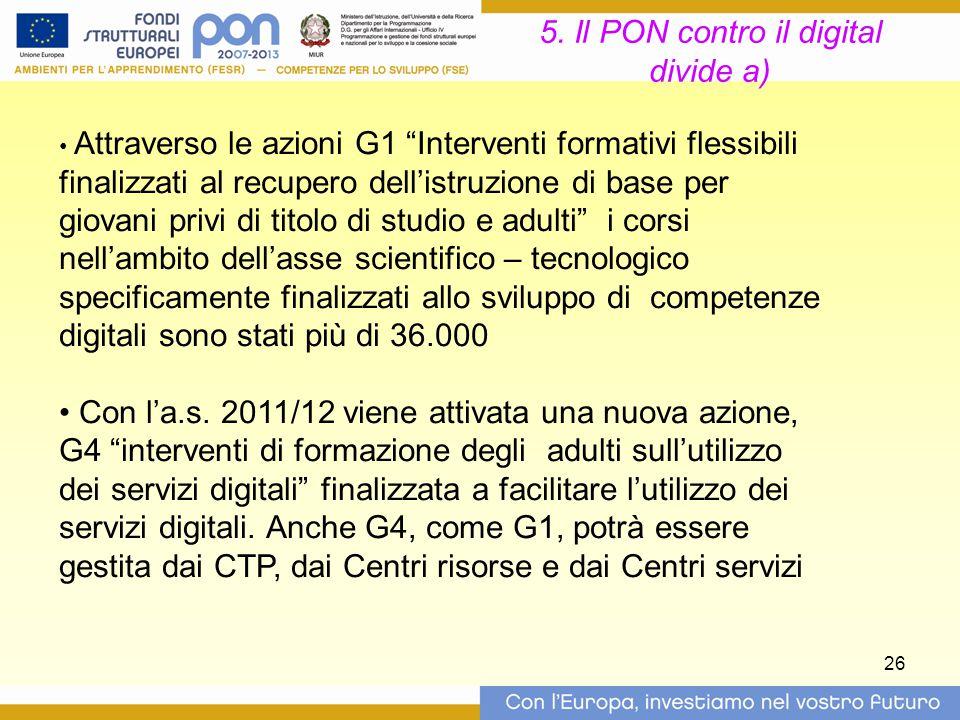 5. Il PON contro il digital divide a)