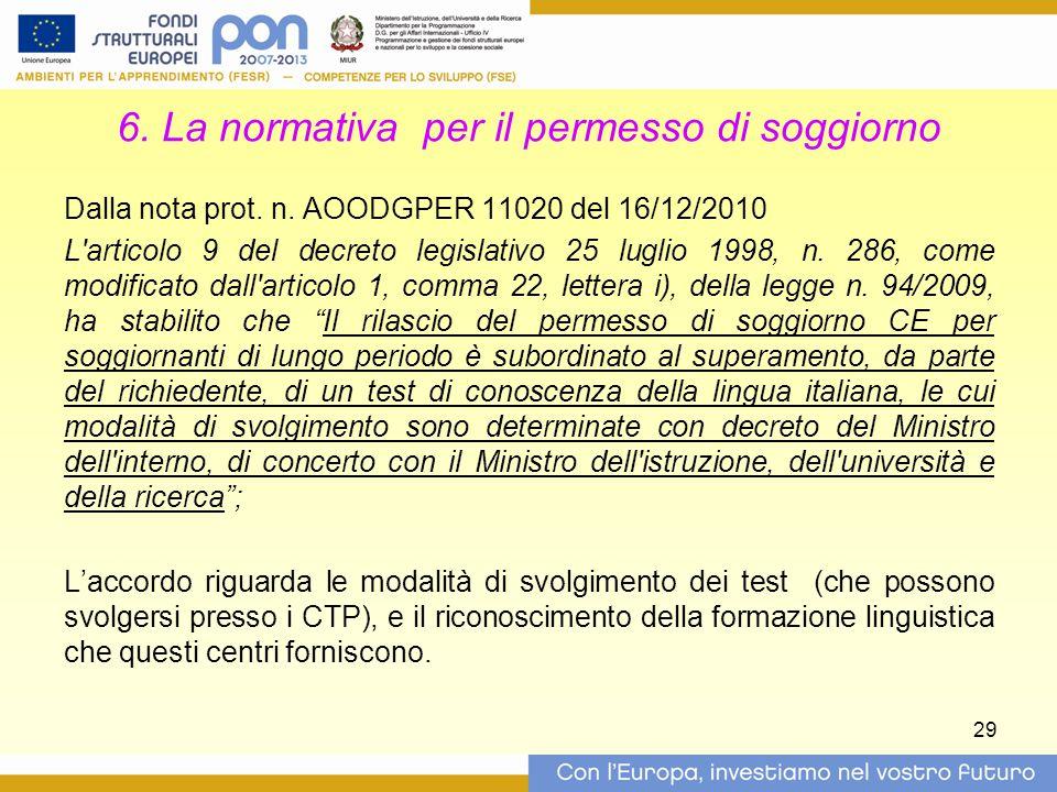 6. La normativa per il permesso di soggiorno
