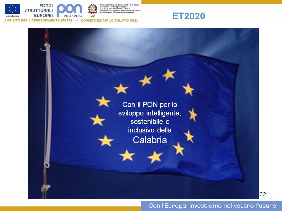ET2020 Con il PON per lo sviluppo intelligente, sostenibile e inclusivo della Calabria