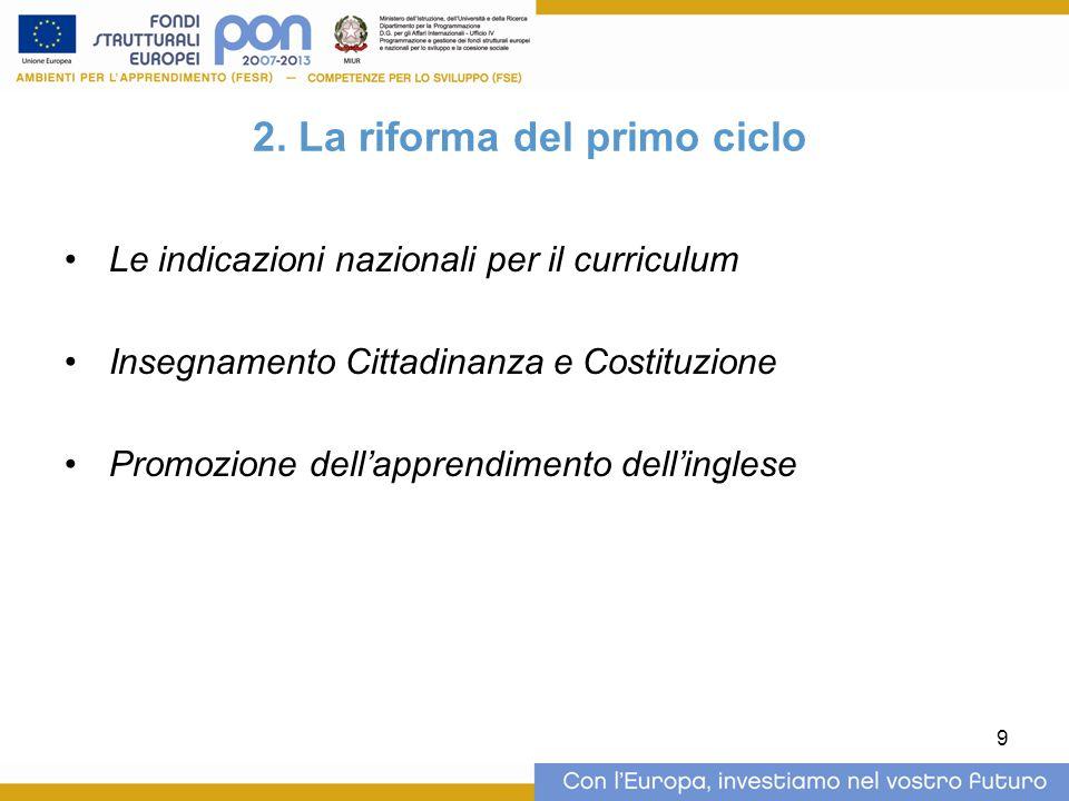 2. La riforma del primo ciclo