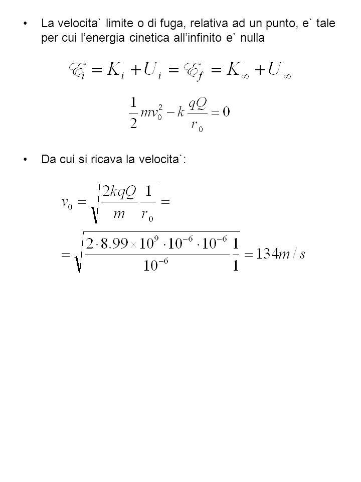 La velocita` limite o di fuga, relativa ad un punto, e` tale per cui l'energia cinetica all'infinito e` nulla