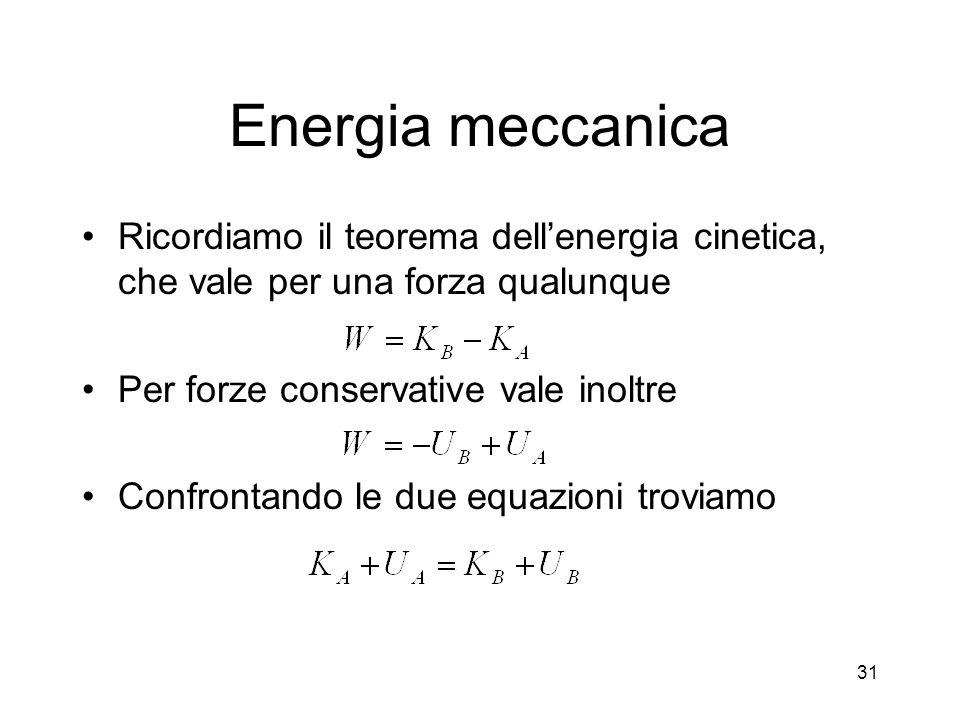 Energia meccanica Ricordiamo il teorema dell'energia cinetica, che vale per una forza qualunque. Per forze conservative vale inoltre.
