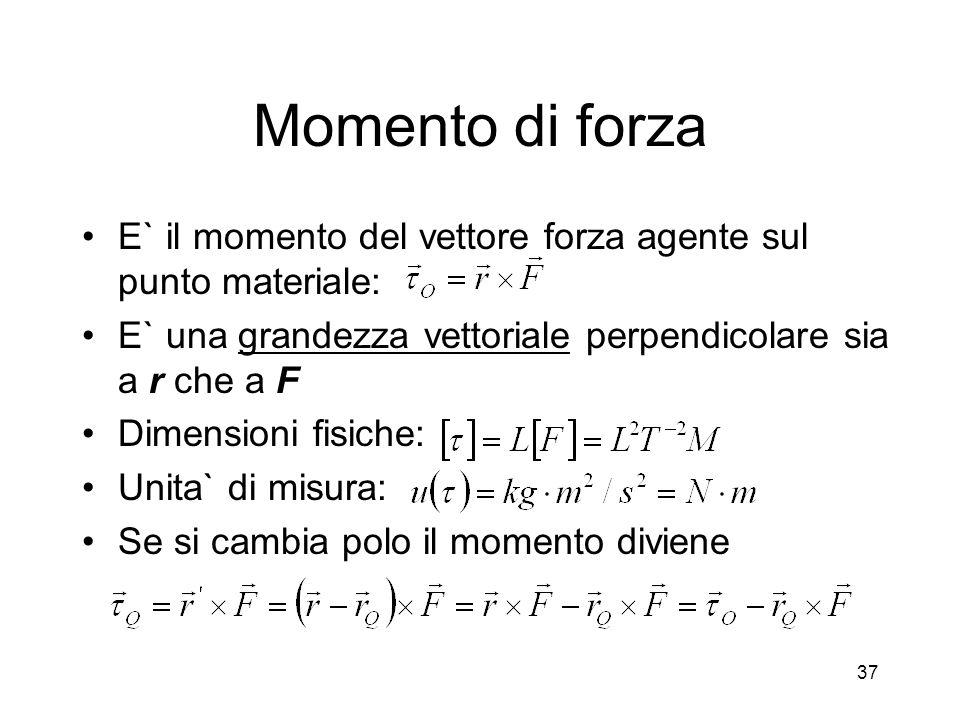 Momento di forza E` il momento del vettore forza agente sul punto materiale: E` una grandezza vettoriale perpendicolare sia a r che a F.