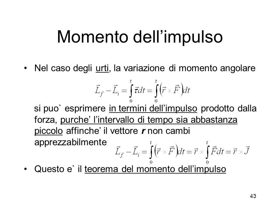 Momento dell'impulso Nel caso degli urti, la variazione di momento angolare.