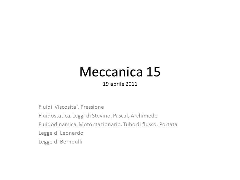 Meccanica 15 19 aprile 2011 Fluidi. Viscosita`. Pressione