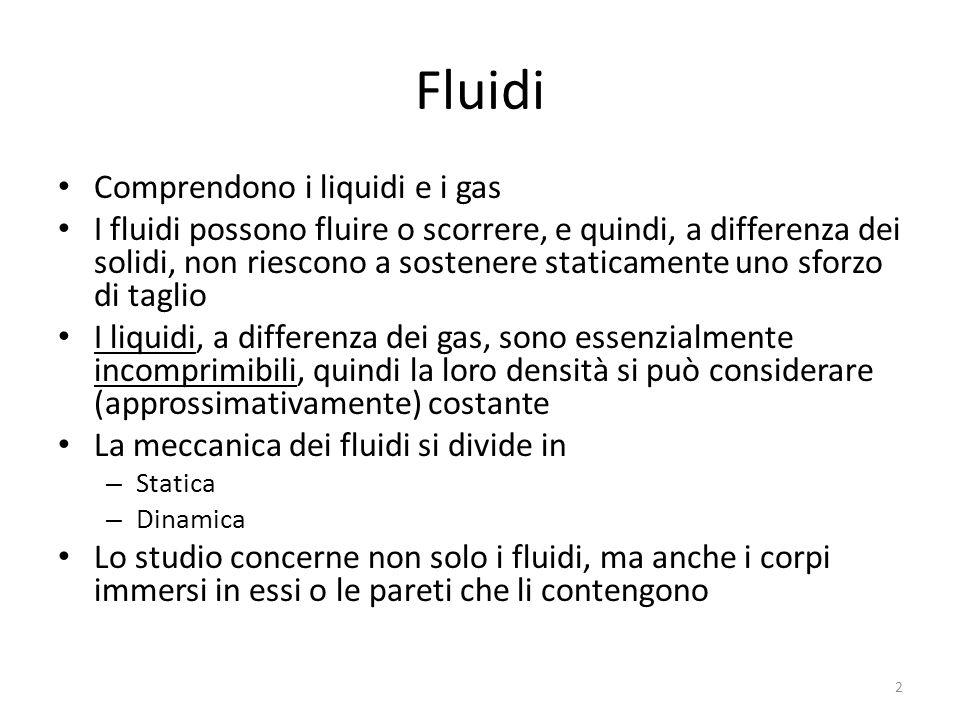 Fluidi Comprendono i liquidi e i gas