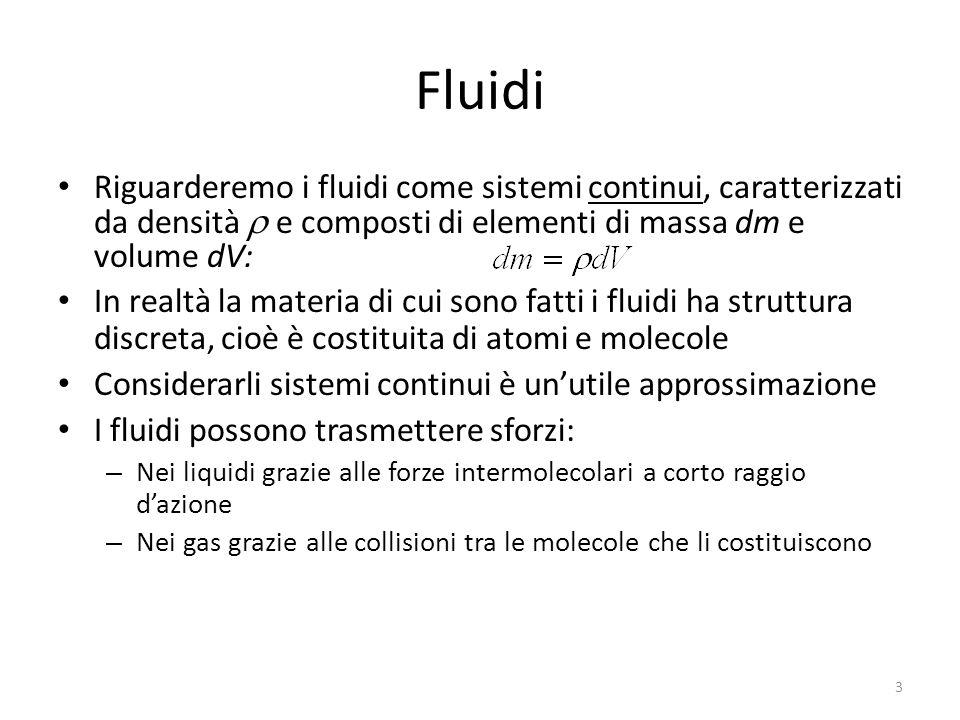Fluidi Riguarderemo i fluidi come sistemi continui, caratterizzati da densità r e composti di elementi di massa dm e volume dV: