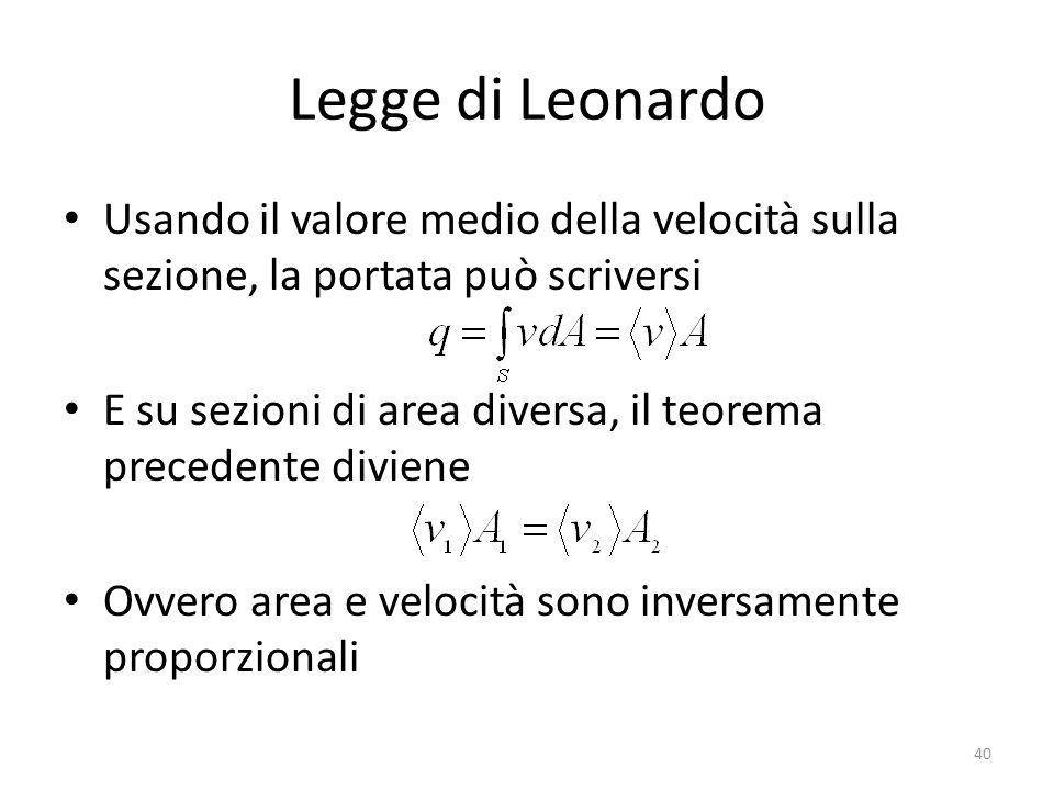 Legge di Leonardo Usando il valore medio della velocità sulla sezione, la portata può scriversi.