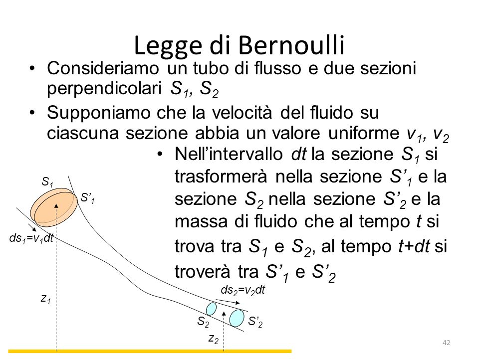 Legge di Bernoulli Consideriamo un tubo di flusso e due sezioni perpendicolari S1, S2.