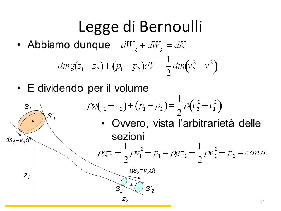 Legge di Bernoulli Abbiamo dunque E dividendo per il volume