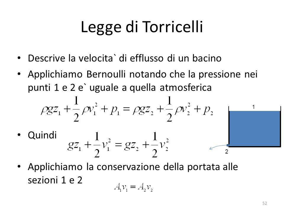 Legge di Torricelli Descrive la velocita` di efflusso di un bacino